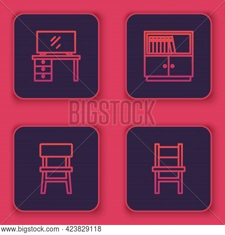 Set Line Tv Table Stand, Chair, Library Bookshelf And . Blue Square Button. Vector