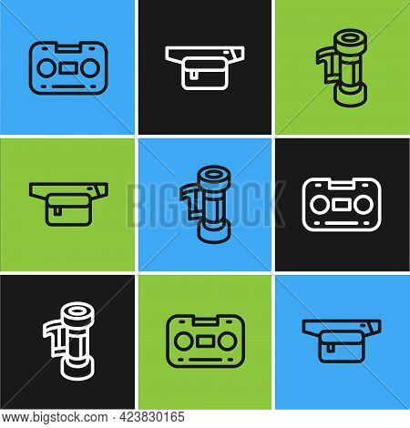 Set Line Retro Audio Cassette Tape, Camera Roll Cartridge And Waist Bag Of Banana Icon. Vector