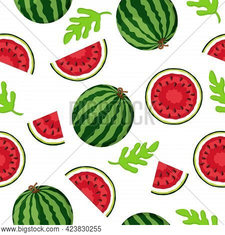 Ripe Watermelons, Halves And Pieces On A White Background. Seamless Pattern
