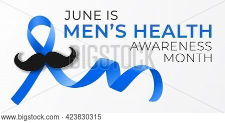 National Men Health Awareness Month Banner Template With Blue Ribbon Loop And Mustache. Annual Celeb