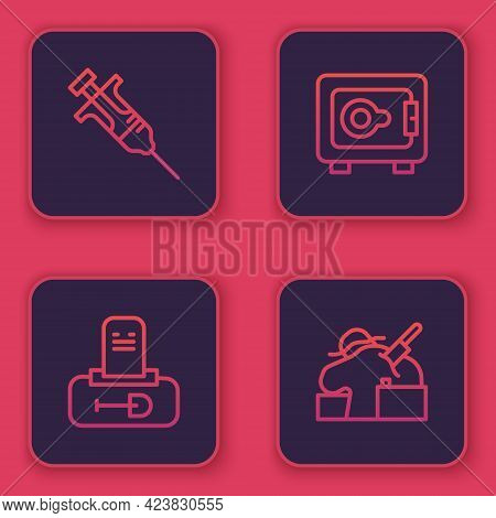 Set Line Syringe, Grave With Tombstone, Safe And Murder. Blue Square Button. Vector