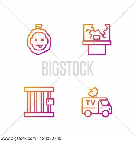 Set Line Tv News Car, Prison Window, Murder And Broken. Gradient Color Icons. Vector