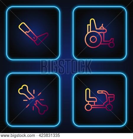 Set Line Electric Wheelchair, Human Broken Bone, Prosthesis Leg And . Gradient Color Icons. Vector