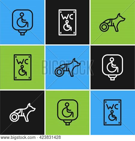 Set Line Disabled Wheelchair, Dog In And Separated Toilet For Disabled Icon. Vector