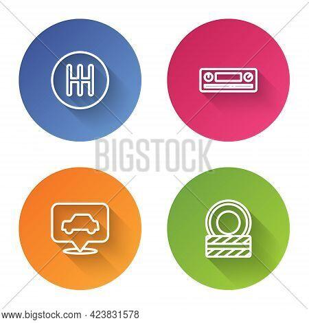 Set Line Gear Shifter, Car Audio, Service And Tire Wheel. Color Circle Button. Vector