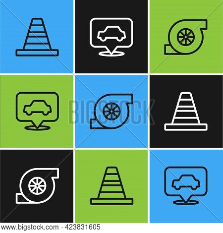 Set Line Traffic Cone, Automotive Turbocharger And Car Service Icon. Vector