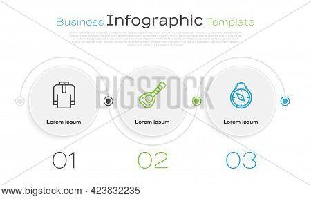 Set Line Shirt Kurta, Lute And Qibla. Business Infographic Template. Vector