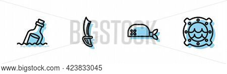 Set Line Pirate Bandana For Head, Bottle With Message In Water, Sword And Ship Porthole Seascape Ico