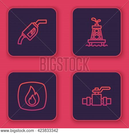 Set Line Gasoline Pump Nozzle, Fire Flame, Oil Rig And Metallic Pipes And Valve. Blue Square Button.