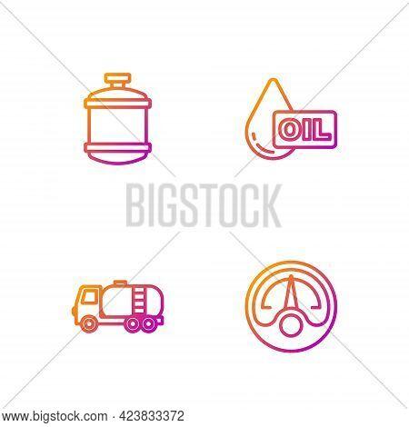 Set Line Motor Gas Gauge, Tanker Truck, Propane Tank And Oil Drop. Gradient Color Icons. Vector