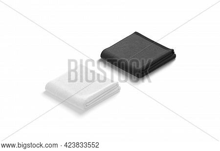 Blaank Blank And White Folded Big Towel Mockup, Side View, 3d Rendering. Empty Square Wiper For Show