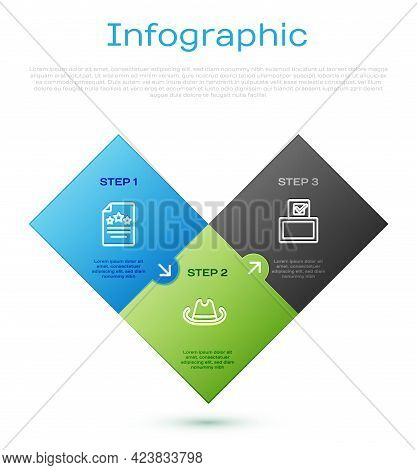 Set Line Declaration Of Independence, Vote Box And Western Cowboy Hat. Business Infographic Template