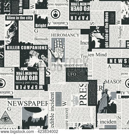 Black And White Seamless Pattern With A Collage Of Newspaper Clippings. Abstract Background With Unr