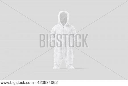 Blank White Kid Plush Jumpsuit With Hood Mockup, Gray Background, 3d Rendering. Empty Kigurumi Night