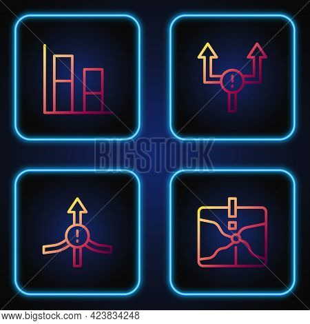 Set Line Intersection Point, Arrow, Graph, Chart, Diagram And . Gradient Color Icons. Vector