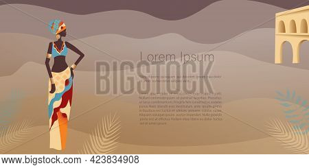 African Woman In Turban In Minimalistic Style, Plants, Abstract Shapes And Landscape. Abstract Poste