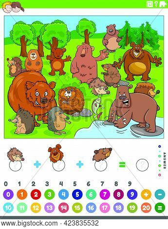 Cartoon Illustration Of Educational Mathematical Counting And Addition Game For Children With Bears
