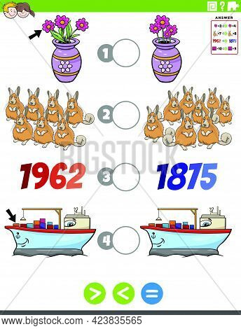 Cartoon Illustration Of Educational Mathematical Puzzle Game Of Greater Than, Less Than Or Equal To