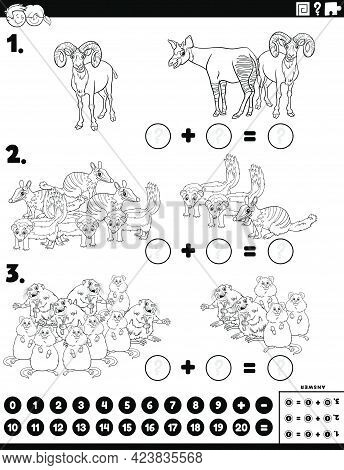 Black And White Cartoon Illustration Of Educational Mathematical Addition Puzzle Task With Comic Wil
