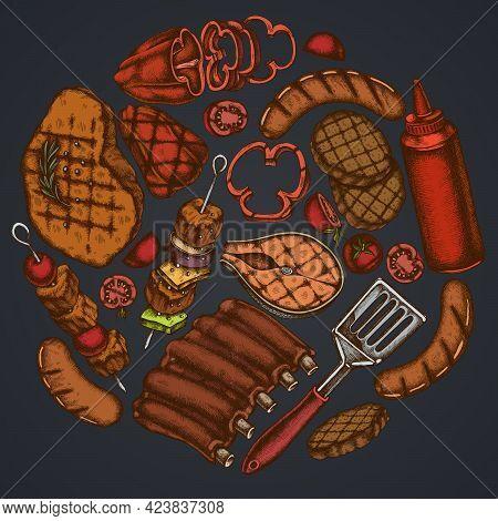 Round Floral Design On Dark Background With Spatula, Pork Ribs, Kebab, Sausages, Steak, Sauce Bottle