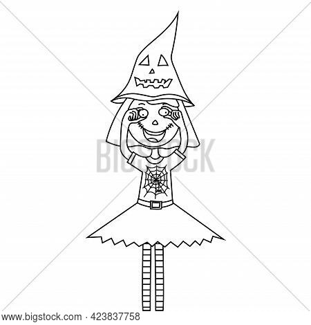 Coloring Page Halloween Kid Girl Character. Child In Halloween Costume. Girl Fooling Around On Hallo