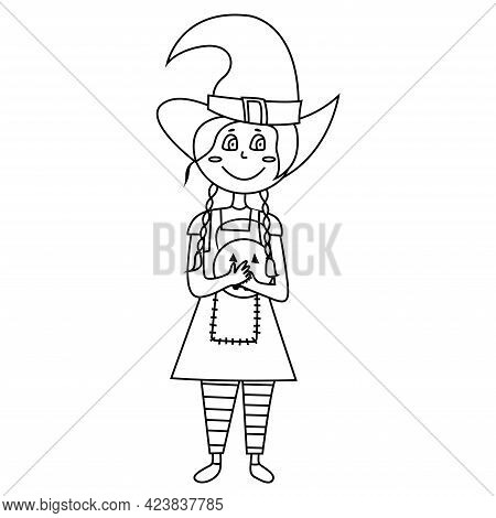 Coloring Page Halloween Kid Girl Character. Happy Halloween. Girl Hold Pumpkin. Coloring Book Vector