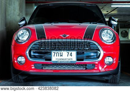 Bangkok, Thailand - 06 Jun 2021 : Front View Close Up Shot Of Red Mini Cooper Parked In The Parking