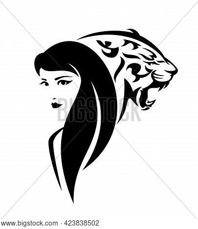 Beautiful Woman With Long Hair And Roaring Wild Tiger Head - Black And White Vector Portrait Of Girl