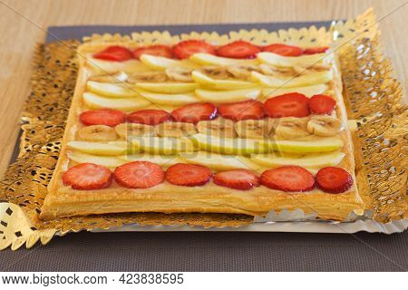 Delicious Homemade Puff Pastry Cake With Strawberries, Banana, Apple And Pastry Cream