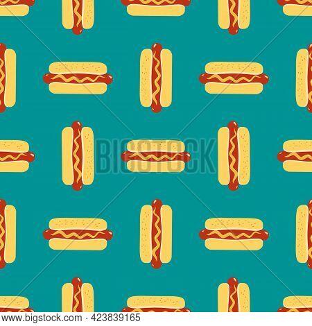Hot Dogs Sign Vector Seamless Pattern Background. Fried Sausage In Bun, Mustard Cartoon Design Eleme
