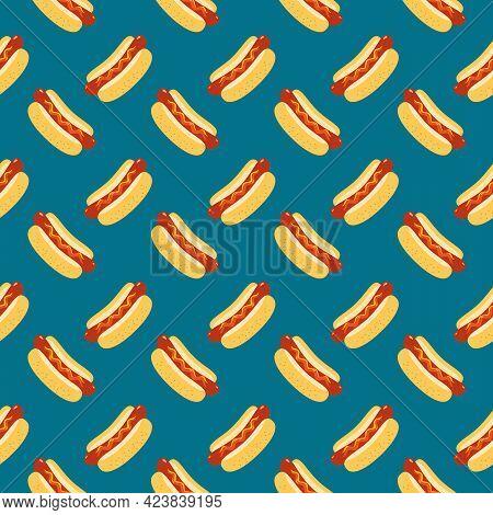 Hot Dog Vector Seamless Pattern Background. Fried Sausage In Bun, Sesame Seeds, Mustard, Ketchup Car