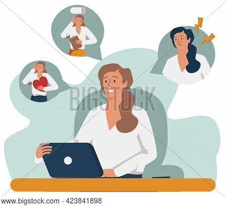 Woman Expressing Strong Various Feelings And Emotions. Girl Suffering From Distracted Behavior And M