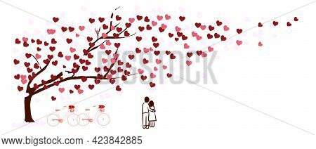 Tree Of Love. Red Heart Leaves Waver Sway. Two Bicycles And A Doodle Couple Stand Together Under A T
