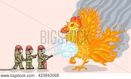 Firefighters Fight With The Symbol Of The Fire, With A Fiery Rooster.