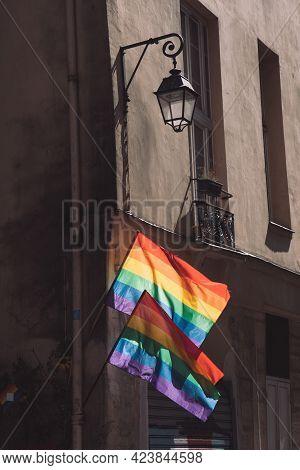Transgender Pride Flags. Lgbtq Flags Hanging At Historic Building Corner During Paris Pride. Lgbtqia
