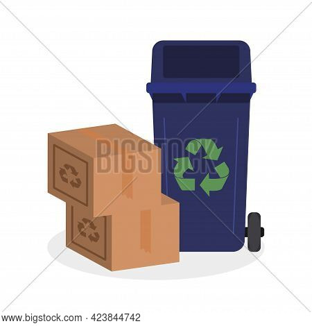 Cardboard Boxes And Dumpster Set. Recycle Concept Icon Vector Illustration Design Isolated