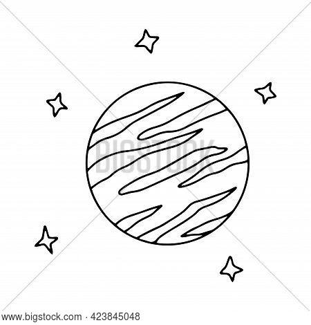 Planet And Stars In Outer Space. Black And White Vector Illustration In Doodle Style Isolated. Jupit