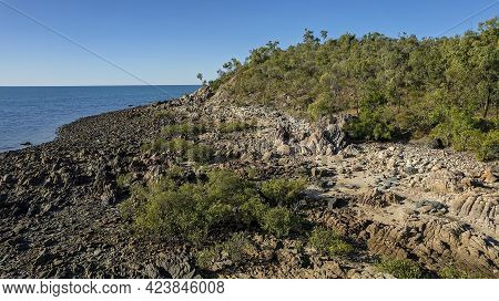 A Rocky Bushy Coastal Shore On The Coral Sea With Stoney Environment Visible At Low Tide Aerial View