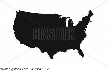 Usa Map With Federal States. Vector Illustration. United States Of American Map.