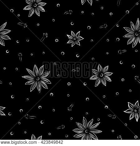 Vintage Sketch Closeup Of Anise Paper Pattern Black On White Background. Simple Vector Graphic