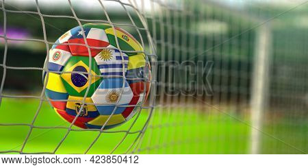 Soccer Football ball with flags of south america countries in net on football stadium. America championship 2021. 3d illustration
