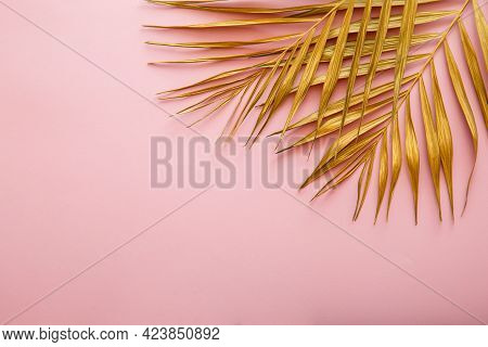 Golden Palm Leaf Frame, Tropical Leave Texture On Pink Background With Copy Space. Painted Gold Leav