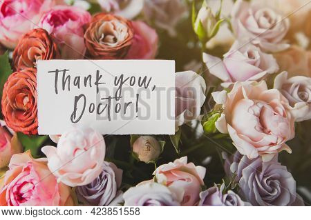 White Gift Card With The Inscriptionthank You Doctor In A Bouquet Of Bright Beautiful Multi-colored