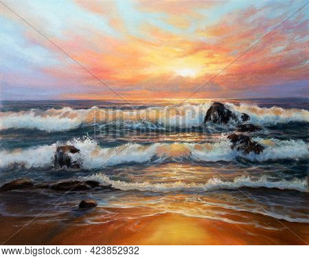 Original  Oil Painting Of Beautiful Golden Sunset Over Ocean Beach On Canvas.modern Impressionism, M