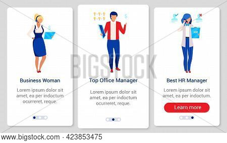Company Staff Onboarding Mobile App Screen Vector Template. Walkthrough Website Steps With Flat Char