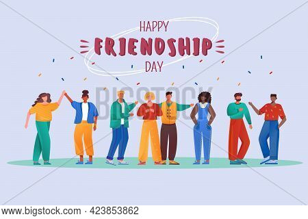 Happy Friendship Day Flat Poster Vector Template. International Holiday. Multiracial People Isolated