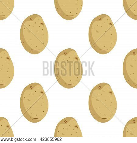 Cute Seamless Pattern With Potato Tubers. Vegetable Harvest Print. Summer Or Autumn Background. Vect
