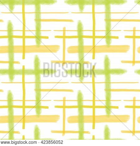 Yellow And Light Green Loose Strokes And Lines Seamless Pattern, Trendy Minimalist Concept, Simple R