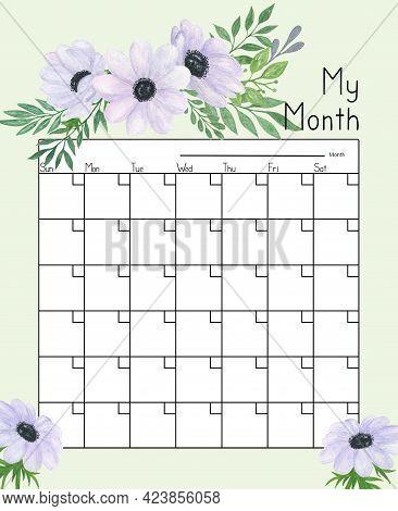 Calendar Grid Anemones Flowers Floral Ornament Watercolor Illustration, Blank Printable Template, Un
