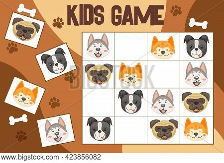 Sudoku Kids Game With Dogs And Puppies, Vector Riddle With Cartoon Doggy Characters Heads On Chequer
